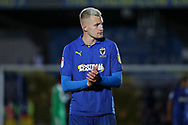 AFC Wimbledon striker Joe Pigott (39) clapping during the EFL Sky Bet League 1 match between AFC Wimbledon and Lincoln City at the Cherry Red Records Stadium, Kingston, England on 2 November 2019.