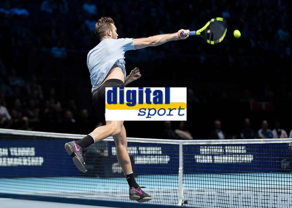 Tennis - 2017 Nitto ATP Finals at The O2 - Day Five<br /> <br /> Group Boris Becker Singles: Alexander Zverev (Germany) Vs Jack Sock (United States)<br /> <br /> Jack Sock (United States) powers to the net and smashes the ball at the O2 Arena<br /> <br /> COLORSPORT/DANIEL BEARHAM