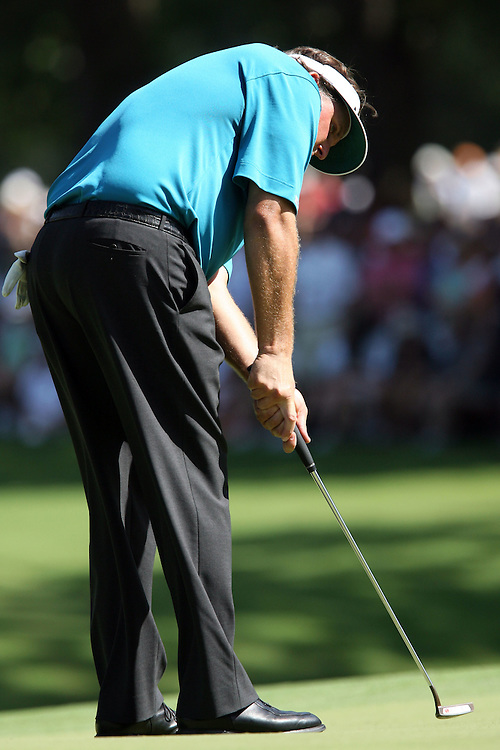 10 August 2007: Phil Mickelson makes a birdie on the 17th hole during the second round of the 89th PGA Championship at Southern Hills Country Club in Tulsa, OK.