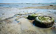 Bij eb kan je een heel stuk wandelen richting de zee. Île de Noirmoutier, Vendée, Frankrijk  - With the ebb tide you can walk a long way to the sea.  Île de Noirmoutier, Vendée, France