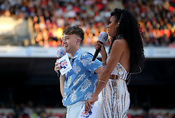 Roman Kemp on stage during Capital's Summertime Ball. The world's biggest stars perform live for 80,000 Capital listeners at Wembley Stadium at the UK's biggest summer party. PRESS ASSOCIATION PHOTO. Picture date: Saturday June 8, 2019. Photo credit should read: Isabel Infantes/PA Wire.