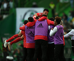 LISBON, Feb. 4, 2019  Players of Benfica celebrate after scoring during the Portuguese League soccer match between SL Benfica and Sporting CP in Lisbon, Portugal, Feb. 3, 2019. Benfica won 4-2. (Credit Image: © Xinhua via ZUMA Wire)