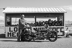 Steven Rinker stopped at a roadside melon stand with his 1936 Indian Chief during stage 11 (289 miles) of the Motorcycle Cannonball Cross-Country Endurance Run, which on this day ran from Grand Junction, CO to Springville, UT., USA. Tuesday, September 16, 2014.  Photography ©2014 Michael Lichter.