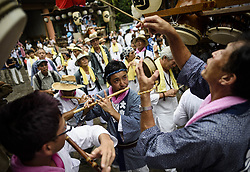 August 17, 2017 - Fujisawa, Kanagawa, Japan - People celebrate at the Kotai Jingu Shrine Festival in Fujisawa, Japan. ..Teams from neighborhoods surrounding the shrine pull wooden floats through the streets and engage in good-natured drum battles. The festival is held yearly around the August bon holiday. (Credit Image: © Ben Weller via ZUMA Wire)