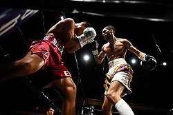 April 13, 2018 - Minnesapolis, MN, USA - Abel Ramos, left, and Jamal Jones clash in a welterweight bout at the Armory in Minneapolis on Friday, April 13, 2018. (Credit Image: © Aaron Lavinsky/TNS via ZUMA Wire)