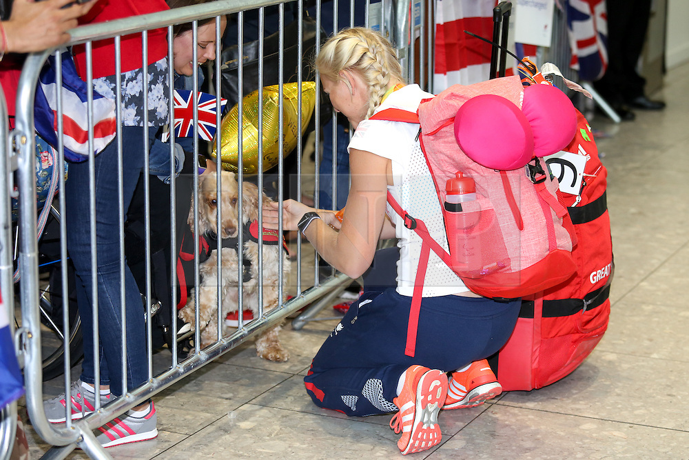 © Licensed to London News Pictures. 20/09/2016. London, UK. Team GB Paralympian Pamela Relph arrives at terminal 5 of London Heathrow Airport after flying on British Airways flight BA2016. Team GB finished second in the Paralympics medals table with 147 medals beating their total of 120 at London 2012. Photo credit : Tom Nicholson/LNP