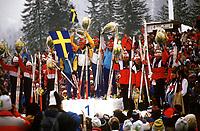 Langrenn<br /> Verdensmesterskap 1987<br /> Foto: imago/Digitalsport<br /> NORWAY ONLY<br /> <br /> 20.02.1987 <br /> 4 x 10 km stafett<br /> Weltmeister Schweden mit v.li. Erik Östlund, Gunde Svan, Thomas Wassberg und Torgny Mogren, Sovjetunionen (li.) und Norge