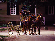 Horses with wagon at Colonial Williamsburg, the restored eighteenth-century capital of Virginia.
