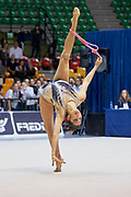 Agiurgiuculese Alexandra during the Italian Rhythmic Gymnastics Championship 2018 in Desio.<br /> Alexandra is an Italian individualistic gymnast, of Romanian origins, of the Italian national rhythmic gymnastics. His team in Italy is AS Udinese coached by Spela Dragas.