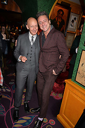 Stephen Jones and Jeremy Healy attend CATWALKING, PHOTOGRAPHS BY CHRIS MOORE party hosted by The British Fashion Council & Laurence King Publishing at Annabel's, Mayfair, London England. 6 November 2017.