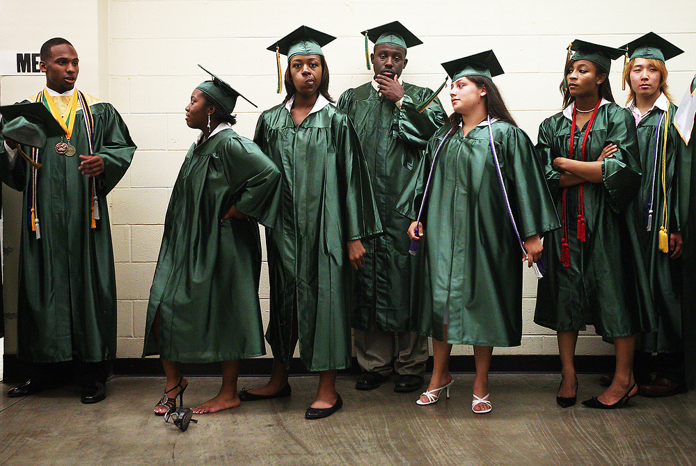 Spring Valley High School's class of 2011 wait for their graduation ceremony to begin at the Carolina Coliseum.<br /> Columbia, S.C. 06-02-2011. C. Aluka Berry - The State Media Company