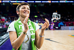 Maja Makovec Brencic, Slovenian Minister of Education and Sport celebrates after winning during basketball match between National Teams of Slovenia and Spain at Day 15 in Semifinal of the FIBA EuroBasket 2017 at Sinan Erdem Dome in Istanbul, Turkey on September 14, 2017. Photo by Vid Ponikvar / Sportida