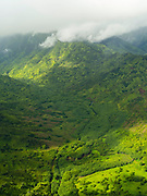 Aerial view of the Wainiha River Valley on the northern coast of Kauai, Hawaii on a cloudy day.