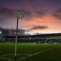 TELFORD COPYRIGHT MIKE SHERIDAN A general view of the New Bucks Head at sunset during the Vanarama Conference North fixture between AFC Telford United and Brackley Town at the New Bucks Head on Saturday, January 4, 2020.<br /> <br /> Picture credit: Mike Sheridan/Ultrapress<br /> <br /> MS201920-039