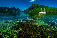 Windstar sailing ship in Cook's Bay, Moorea, French Polynesia.