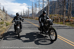 Father and Son - Bill and Billy Page riding their Harley-Davidsons in the Motorcycle Cannonball coast to coast vintage run. Stage 12 (242 miles) from Great Falls to Kalispell, MT. Thursday September 20, 2018. Photography ©2018 Michael Lichter.