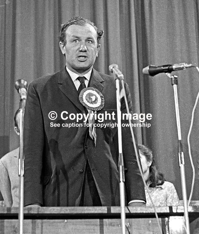 Henry Maitland Clark, the defeated Ulster Unionist candidate, in the June 1970 UK General Ellection, speaking at the Ballymena count. Clark, who had held the seat in the three previous General Elections, was a relative of the then Major James Chichester-Clark, who went on to become the penultimate N Ireland Prime Minister and in 1971 received a life peer taking the title Lord Moyola. 197006190230b.<br /> <br /> Copyright Image from Victor Patterson, Belfast, UK<br /> <br /> t: +44 28 9066 1296 (from Rep of Ireland 048 9066 1296)<br /> m: +44 7802 353836<br /> e: victorpattersonbelfast@gmail.com<br /> <br /> www.images4media.com<br /> <br /> Please see my full Terms and Conditions of Use at https://www.images4media.com/p/terms-conditions - it is IMPORTANT that you familiarise yourself with them.<br /> <br /> Images used online incur an additional cost. This cost should be agreed in writing in advance. Online images must be visibly watermarked i.e. © Victor Patterson or that of the named photographer within the body of the image. The original metadata must not be deleted from images used online.<br /> <br /> This image is only available for the use of the download recipient i.e. television station, newspaper, magazine, book publisher, etc, and must not be passed on to a third party. It is also downloaded on condition that each and every usage is notified within 7 days to victorpattersonbelfast@gmail.com.<br /> <br /> The right of Victor Patterson (or the named photographer) to be identified as the author is asserted in accordance with The Copyright Designs And Patents Act (1988). All moral rights are asserted.