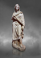 Roman statue of Sabina .Marble. Perge. 2nd century AD. Inv no 3066-3086. Antalya Archaeology Museum; Turkey. Against a grey background .<br /> <br /> If you prefer to buy from our ALAMY STOCK LIBRARY page at https://www.alamy.com/portfolio/paul-williams-funkystock/greco-roman-sculptures.html . Type -    Antalya     - into LOWER SEARCH WITHIN GALLERY box - Refine search by adding a subject, place, background colour, museum etc.<br /> <br /> Visit our ROMAN WORLD PHOTO COLLECTIONS for more photos to download or buy as wall art prints https://funkystock.photoshelter.com/gallery-collection/The-Romans-Art-Artefacts-Antiquities-Historic-Sites-Pictures-Images/C0000r2uLJJo9_s0
