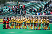 South Africa line up for the national anthems ahead of their match in the Investec Hockey World League Semi Final 2013, the Quintin Hogg Memorial Sports Ground, University of Westminster, London, UK on 27 June 2013. Photo: Simon Parker