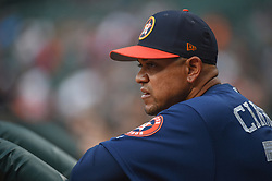March 26, 2018 - Houston, TX, U.S. - HOUSTON, TX - MARCH 26: Houston Astros first base coach Alex Cintron (37) watches from the dugout during the game between the Milwaukee Brewers and Houston Astros at Minute Maid Park on March 26, 2018 in Houston, Texas. (Photo by Ken Murray/Icon Sportswire) (Credit Image: © Ken Murray/Icon SMI via ZUMA Press)