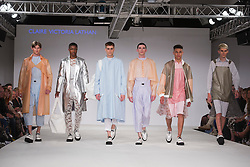 © Licensed to London News Pictures. 02/06/2014. London, England. Birmingham City University, collection by Claire Victoria Lathan. Graduate Fashion Week 2014, Runway Show at the Old Truman Brewery in London, United Kingdom. Photo credit: Bettina Strenske/LNP