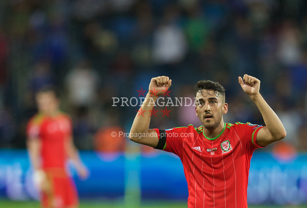 HAIFA, ISRAEL - Saturday, March 28, 2015: Wales' Neil Taylor celebrates after the 3-0 victory over Israel during the UEFA Euro 2016 qualifying Group B match at the Sammy Ofer Stadium. (Pic by David Rawcliffe/Propaganda)
