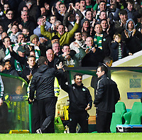 23/10/14 UEFA EUROPA LEAGUE<br /> CELTIC v FC ASTRA GIURGIU<br /> CELTIC PARK - GLASGOW<br /> Celtic manager Ronny Deila (left) celebrates with John Collins after Stefan Johansen scores the second goal of the game