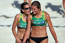 Tjasa Dimec and Snezana Rajak (Armal Team) at qualifications for 14th National Championship of Slovenia in Beach Volleyball and also 4th tournament of series TUSMOBIL LG presented by Nestea, on July 25, 2008, in Kranj, Slovenija. (Photo by Vid Ponikvar / Sportal Images)/ Sportida)