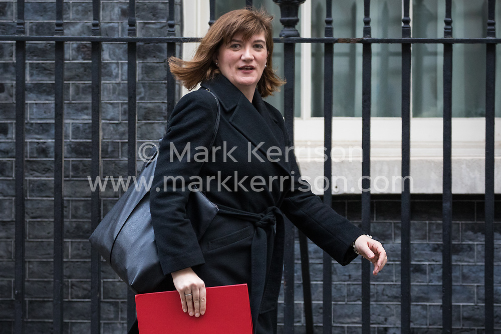 London, UK. 7 January, 2020. Nicky Morgan, Secretary of State for Digital, Culture, Media and Sport, leaves 10 Downing Street following a Cabinet meeting.