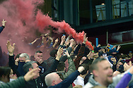 Aston Villa fans celebrate with flares after Fabian Delph, the Aston Villa captain scores his first goal to put his team up 1-0. The FA cup, 6th round match, Aston Villa v West Bromwich Albion at Villa Park in Birmingham, Midlands on Saturday 7th March 2015<br /> pic by John Patrick Fletcher, Andrew Orchard sports photography.