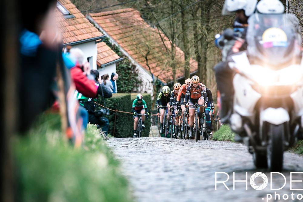 Chantal Blaak (NED/Boels Dolmans) leading the race up the Molenberg cobbles<br /> <br /> 75th Omloop Het Nieuwsblad 2020 (BEL)<br /> Women's Elite Race <br /> Gent – Ninove: 123km<br /> <br /> ©kramon