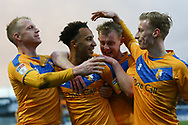 Mansfield Town forward Nicky Maynard (11) celebrates with his team mates during the EFL Sky Bet League 2 match between Mansfield Town and Carlisle United at the One Call Stadium, Mansfield, England on 1 February 2020.