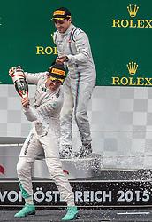 21.06.2015, Red Bull Ring, Spielberg, AUT, FIA, Formel 1, Grosser Preis von Österreich, Rennen, im Bild v.l.: Sieger Nico Rosberg, (GER, Mercedes AMG Petronas F1 Team) und 3. Platz, Felipe Massa, (BRA, Williams Martini Racing) // f.l.: Winner Nico Rosberg, (GER, Mercedes AMG Petronas F1 Team) und 3rd placed, Felipe Massa, (BRA, Williams Martini Racing) // during the Race of the Austrian Formula One Grand Prix at the Red Bull Ring in Spielberg, Austria, 2015/06/21, EXPA Pictures © 2015, PhotoCredit: EXPA/ JFK