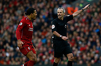 Football - 2018 / 2019 Premier League - Liverpool vs. Tottenham Hotspur<br /> <br /> Virgil van Dijk of Liverpool complains to referee Martin Atkinson, at Anfield.<br /> <br /> COLORSPORT/ALAN MARTIN