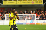 Burton Albion Captain Lucas Akins (10) celebrates after the final whistle during the EFL Sky Bet League 1 match between Burton Albion and Sunderland at the Pirelli Stadium, Burton upon Trent, England on 15 September 2018.