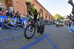 BOLOGNA, ITALY - MAY 11: Podium / Primoz Roglic of Slovenia and Team Jumbo - Visma Pink Leader Jersey / Celebration / during the 102nd Giro d'Italia 2019, Stage 1 a 8km Individual Time Trial from Bologna to San Luca-Bologna 274m / ITT / Tour of Italy / #Giro / @giroditalia / on May 11, 2019 in Bologna, Italy. Photo by Fabio Ferari/LaPresse