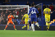 AFC Wimbledon goalkeeper Tom King (1) making a save during the EFL Trophy match between U21 Chelsea and AFC Wimbledon at Stamford Bridge, London, England on 4 December 2018.