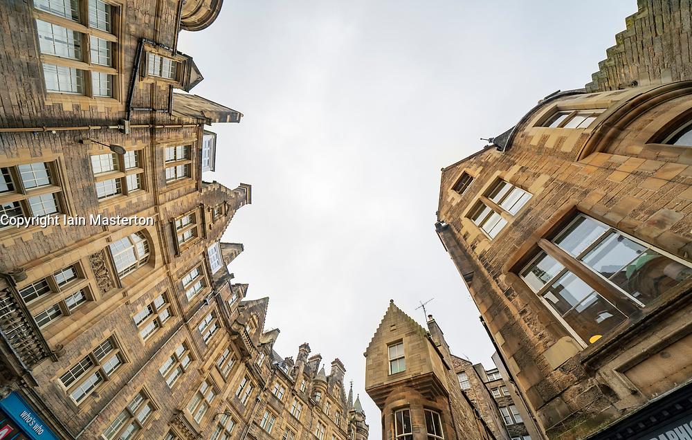 View of historic buildings on Cockburn Street in Edinburgh Old Town, Scotland, UK