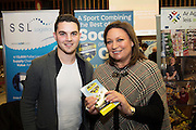 Gary Mullin Riverside Footgolf Cross and Norah Casey at the annual SCCUL Enterprise Awards prize giving ceremony and business expo which was hosted by NUI Galway in the Bailey Allen Hall, NUIG. Photo:Andrew Downes