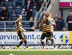 Alloa Athletic's Liam Buchanan cele scoring their penalty.<br /> half time : Falkirk 1 v 1 Alloa Athletic, Scottish Championship game played 4/10/2014 at The Falkirk Stadium.