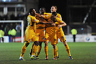 Newport's Conor Washington (14)  celebrates  after he scores his sides 3rd goal. Johnstone's Paint Trophy Quarter Final (Southern Area)  match, Newport county v Portsmouth at Rodney Parade in Newport, South Wales on Tuesday 12th November 2013. pic by Andrew Orchard, Andrew Orchard sports photography,