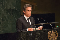 September 16, 2016 - New York, NY, United States - Actor Ben Stiller, a UNHCR supporter, addresses the General Assembly. Three days before the opening of the United Nations high-level Summit on Addressing Large Movements of Migrants and Refugees (September 19), Actor Ben Stiller and former refugee celebrities presented a petition from the #WithRefugees campaign to the UN.  On behalf of the UN, Secretary-General Ban Ki-moon and UN High Commissioner for Refugees Filippo Grandi participated in the event. (Credit Image: © Albin Lohr-Jones/Pacific Press via ZUMA Wire)