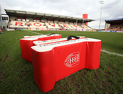 Training pads ready for the Hull KR players before the First Utility Super League match between Hull KR and Castleford Tigers.