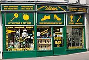Shoe repair shop, Chippenham, Wiltshire, England, UK
