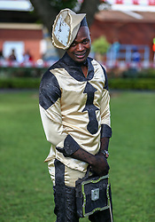 Durban. 070718. Fashion Theme for the 2018 Vodacom Durban July. - It Is Time - Every year a new theme is released to get the creative juices of the visitors and fashion desighners flowing. Picture Leon Lestrade. African News Agency/ANA. Andile Buthelezi dreesed by Madonna