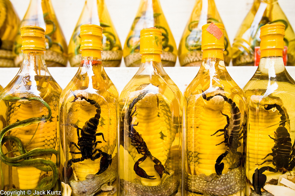 """10 MARCH 2006 - HO CHI MINH CITY, VIETNAM: Snake wine for sale in a store in Ho Chi Minh City, (formerly Saigon) Vietnam. Snake wine contains snakes, scorpions, gecko lizards and other animals is credited with possessing near magical powers and is called """"Vietnamese Viagra"""" by some in Vietnam. Photo by Jack Kurtz"""
