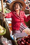 "10 JULY 2011 - DAMNOEN SADUAK, RATCHABURI, THAILAND:  A vendor in the floating market in Damnoen Saduak, Thailand, looks for customers while she sells fresh fruit from her boat. The Thai countryside south of Bangkok is crisscrossed with canals, some large enough to accommodate small commercial boats and small barges, some barely large enough for a small canoe. People who live near the canals use them for everything from domestic water to transportation and fishing. Some, like the canals in Amphawa and nearby Damnoensaduak (also spelled Damnoen Saduak) in Rajburi  province (also spelled Ratchaburi) are also relatively famous for their ""floating markets"" where vendors set up their canoes and boats as floating shops.     PHOTO BY JACK KURTZ"