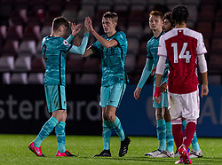 LONDON, ENGLAND - Friday, October 30, 2020: Liverpool's match-winning goal-scorer Tom Clayton (R) celebrates with team-mate Conor Bradley after the Premier League 2 Division 1 match between Arsenal FC Under-23's and Liverpool FC Under-23's at Meadow Park. Liverpool won 1-0. (Pic by David Rawcliffe/Propaganda)