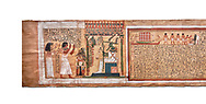 Ancient Egyptian Book of the Dead papyrus - From  tomb of Kha & Merit, Theban Tomb 8 , mid-18th dynasty (1550 to 1292 BC), Turin Egyptian Museum.  white background .<br /> <br /> If you prefer to buy from our ALAMY PHOTO LIBRARY  Collection visit : https://www.alamy.com/portfolio/paul-williams-funkystock/ancient-egyptian-art-artefacts.html  . Type -   Turin   - into the LOWER SEARCH WITHIN GALLERY box. Refine search by adding background colour, subject etc<br /> <br /> Visit our ANCIENT WORLD PHOTO COLLECTIONS for more photos to download or buy as wall art prints https://funkystock.photoshelter.com/gallery-collection/Ancient-World-Art-Antiquities-Historic-Sites-Pictures-Images-of/C00006u26yqSkDOM