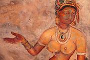 Sigirya, Sri Lanka. 5th century fortress frescoes of Maidens.